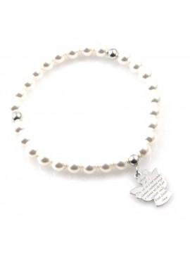 bracciale donna con ciondolo angelo custode preghiera gioiello in argento 925  e perle misure unica mm 17 mm 15