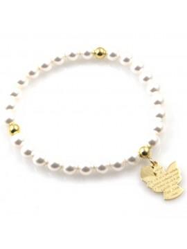 bracciale donna con ciondolo angelo custode preghiera gioiello in argento 925 dorato  e perle misure unica elastico  mm 17 mm 15