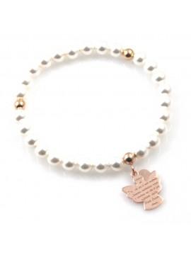 bracciale donna con ciondolo angelo custode preghiera gioiello in argento 925 ramato e perle misure unica elastico  mm 17 mm 15