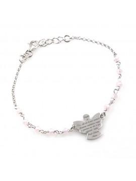 bracciale donna con ciondolo angelo custode preghiera gioiello in argento 925  e pietre sfaccettate rosa cm 19 mm 17 mm 15