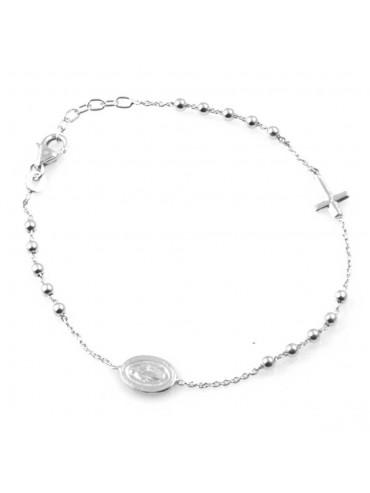 bracciale uomo donna rosario con croce e medaglia miracolosa gioiello in argento 925 cm 19 mm 10 mm 7