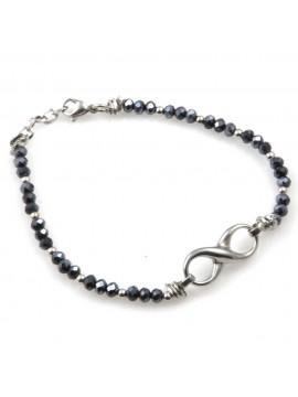 bracciale donna con infinito gioiello in acciaio e pietre sfaccettate blu boreale cm 19 mm 24 mm 10