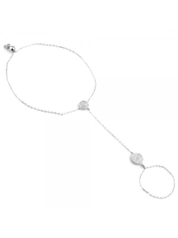baciamani bracciale donna gioiello in argento 925 e zirconi elementi tondi polso utile cm 21
