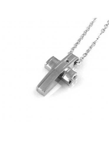 collana uomo croce ciondolo gioiello in acciaio inossidabile e zircone nero catena fino a cm 50 mm 12 mm 19