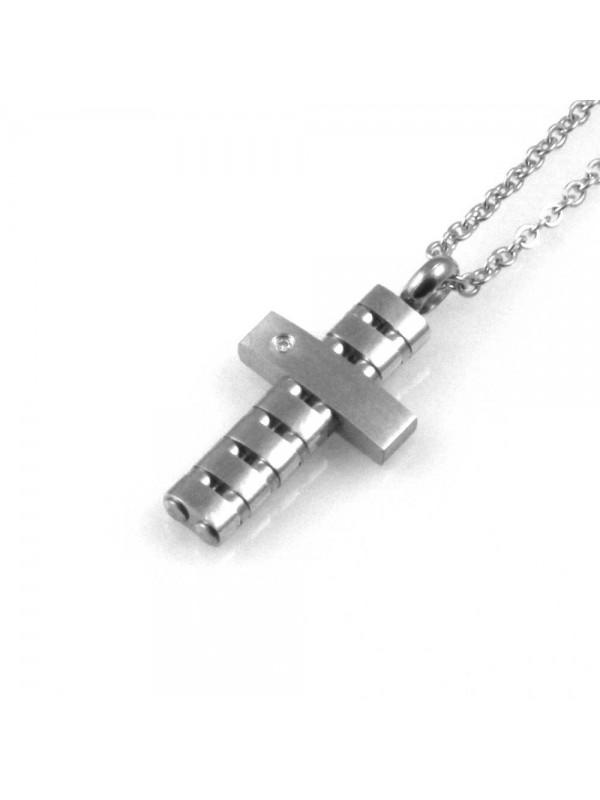 collana uomo croce ciondolo gioiello in acciaio inossidabile zircone catena fino a cm 50 mm 22 mm 12