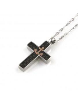 collana uomo croce con ancora ciondolo gioiello in acciaio inossidabile e carbonio catena fino a cm 50 mm 20 mm 14