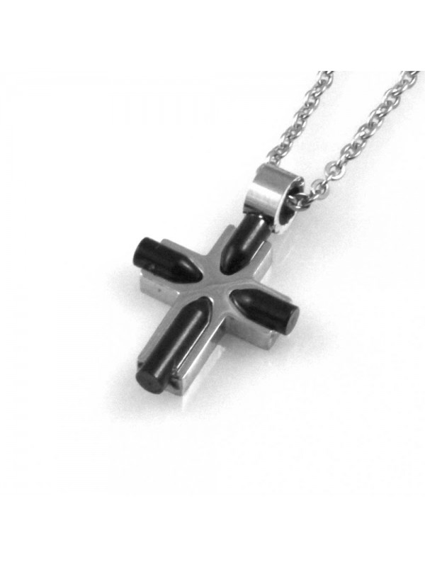 collana uomo croce ciondolo gioiello in acciaio inossidabile bicolore catena fino a cm 50 mm 21 mm 17
