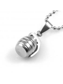 collana uomo con bomba a mano ciondolo gioiello in acciaio inossidabile particolare catena da cm 50 mm 20 mm 12