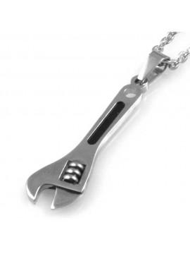 collana uomo con chiave inglese meccanico ciondolo gioiello in acciaio inossidabile particolare catena da cm 50 mm 39 mm 12