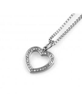 collana donna con cuore ciondolo gioiello in acciaio con strass catena fino a cm 50 mm 14 mm 13