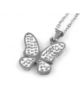 collana donna con farfalla ciondolo gioiello in acciaio con strass catena fino a cm 50 mm 21 mm 21