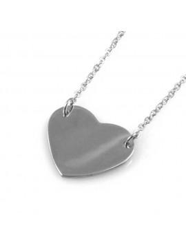 collana donna con cuore ciondolo gioiello in acciaio catena fino a cm 50 mm 19 mm 17
