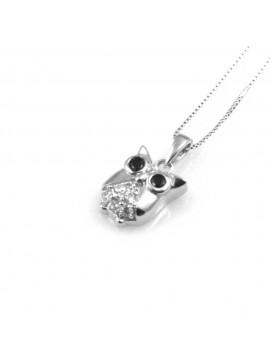 collana donna con gufo o gufetto ciondolo gioiello in argento 925 zirconi neri e bianchi catena cm 42 mm 12 mm 9