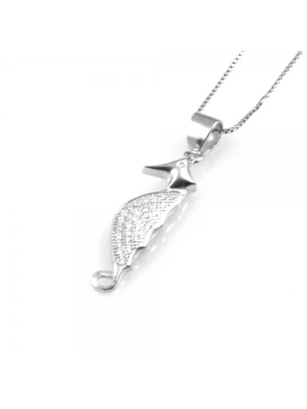collana donna con cavalluccio marino ciondolo gioiello in argento 925 zirconi catena cm 42 mm 25 mm 7