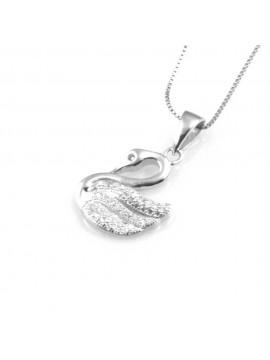 collana donna con cigno ciondolo gioiello in argento 925 zirconi catena cm 42 mm 18 mm 12