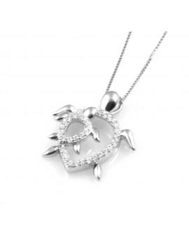 collana donna con tartaruga o tartarughina ciondolo gioiello in argento 925 zirconi catena cm 42 mm 22 mm 19