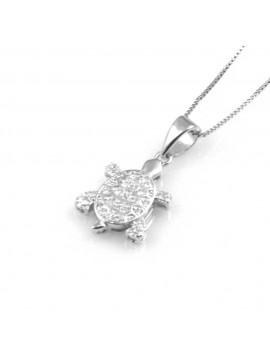 collana donna con tartaruga o tartarughina ciondolo gioiello in argento 925 zirconi catena cm 42 mm 18 mm 14