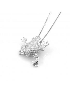 collana donna con rana o ranocchio ciondolo gioiello in argento 925 zirconi catena cm 42 mm 18 mm 17