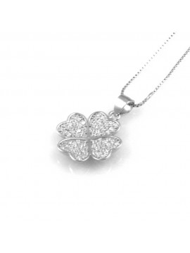 collana donna con quadrifoglio porta fortuna ciondolo gioiello in argento 925 zirconi catena cm 42 mm 14 mm 14