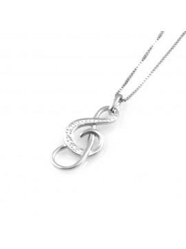 collana donna con chiave di sol o violino ciondolo gioiello in argento 925 zirconi catena cm 42 mm 20 mm 9