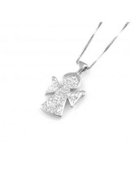collana donna con angelo o angioletto ciondolo gioiello in argento 925 zirconi catena cm 42 mm 21 mm 12