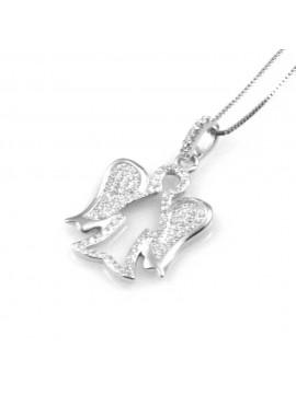 collana donna con angelo o angioletto ciondolo gioiello in argento 925 zirconi catena cm 42 mm 27 mm 17