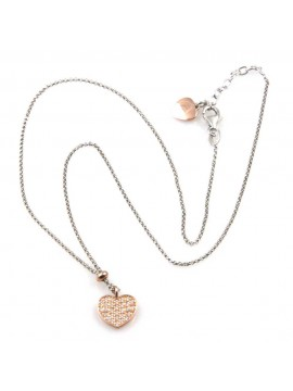 collana donna con cuore ciondolo gioiello in argento 925 ramato zirconi catena fino a cm 50 mm 10 mm 10