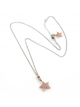 collana donna con stella o stellina ciondolo gioiello in argento 925 ramato zirconi catena fino a cm 50 mm 10 mm 10