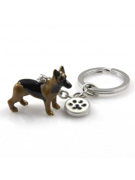 portachiavi donna con cane razza pastore tedesco gioiello in acciaio inossidabile e smalto cm 70