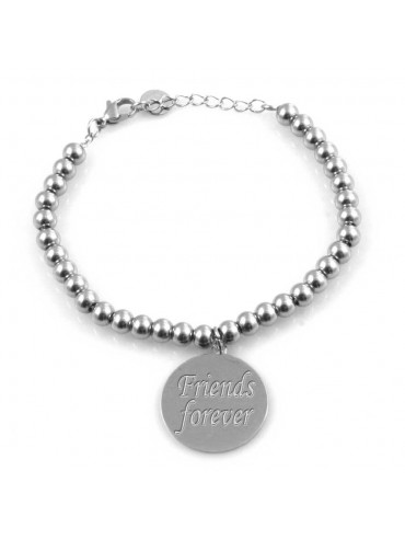 Bracciale donna con ciondolo incise frasi sull amicizia in acciaio