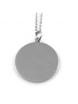 collana con ciondolo rotondo in acciaio ottimo da incidere o per incisione