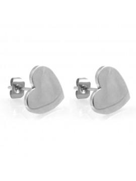 orecchini donna con cuore in acciaio ottimo da incidere a vite