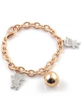 Chiama angeli bracciale bola messicana campanellino con ciondoli bebe in bronzo