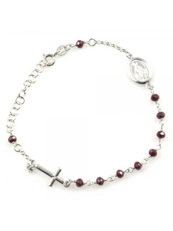 Bracciale rosario donna in argento 925 e pietre rosso scuro boreale