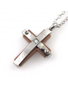 Collana croce da uomo in acciaio e elementi colorati