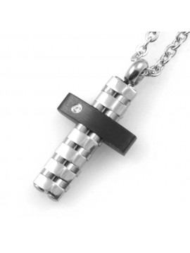 Collana croce da uomo in acciaio zircone e elementi neri