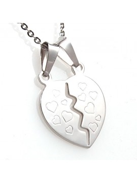Collana con cuore che si spezza in argento