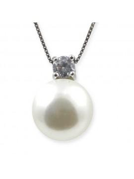 Ciondolo perla e zircone collana in argento 925