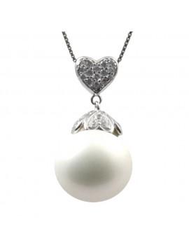 Ciondolo perla e zirconi goccia collana in argento 925