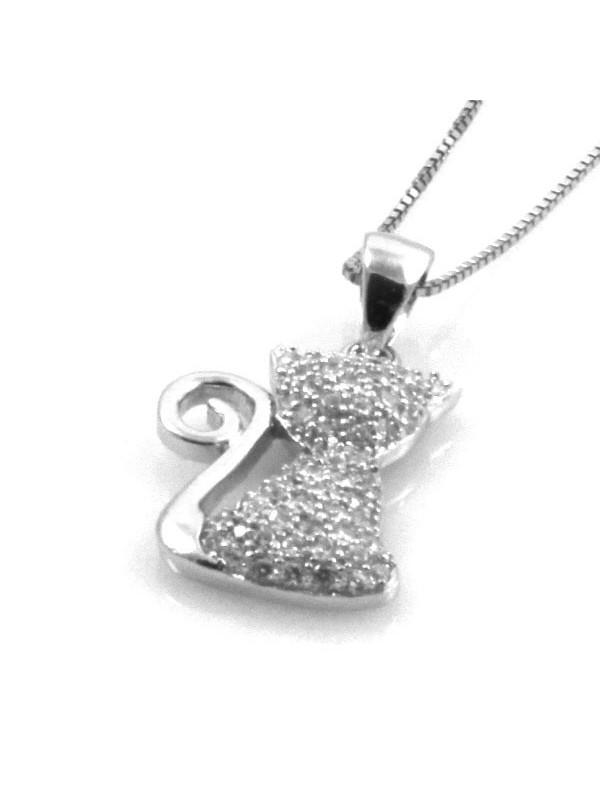Collana con gatto in argento 925