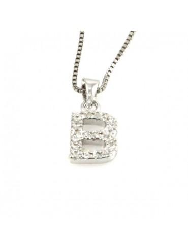 Collana con lettera b iniziale in argento 925