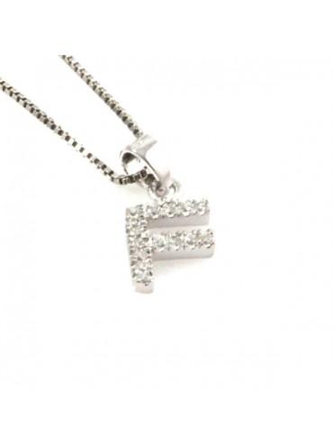 Collana con lettera f iniziale in argento 925