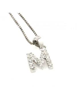 Collana con lettera m iniziale in argento 925