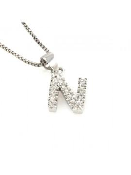Collana con lettera n iniziale in argento 925