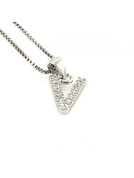 Collana con lettera v iniziale in argento 925