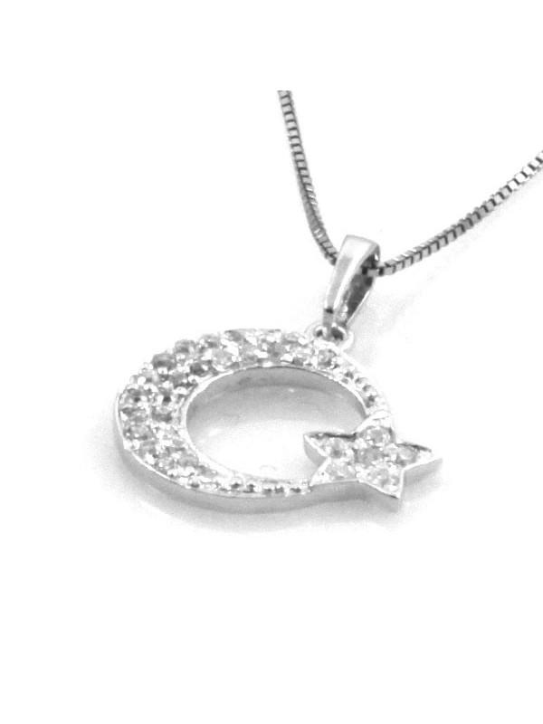 Collana con luna e stella in argento 925