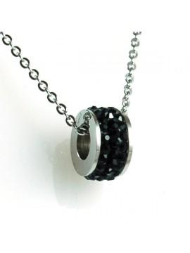 Collana swarovski rotellina strass neri