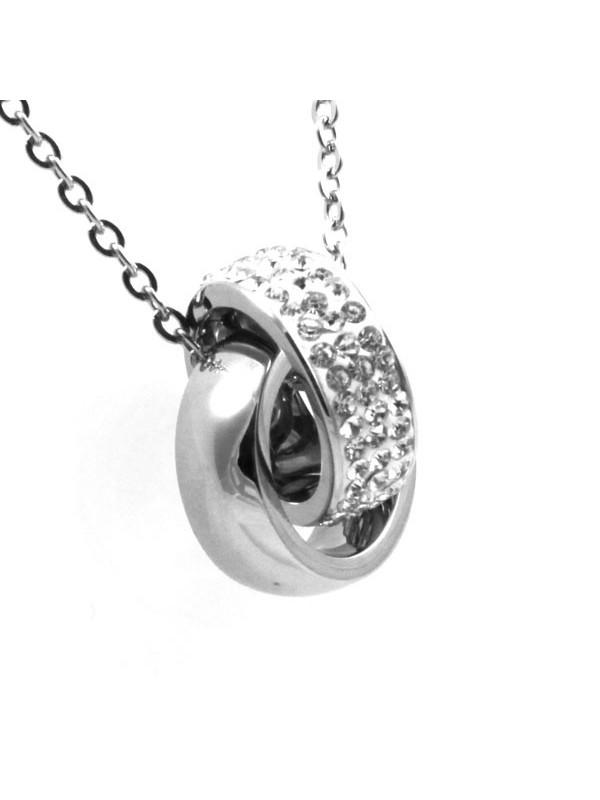 Collana swarovski cerchio doppio strass bianchi