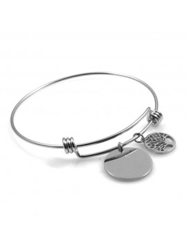 bracciale donna in acciaio rigido con ciondolo tondo e albero della vita ottimo per incisione