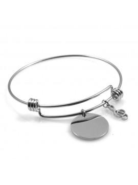 bracciale donna in acciaio rigido con ciondolo tondo e chiave di sol ottimo per incisione